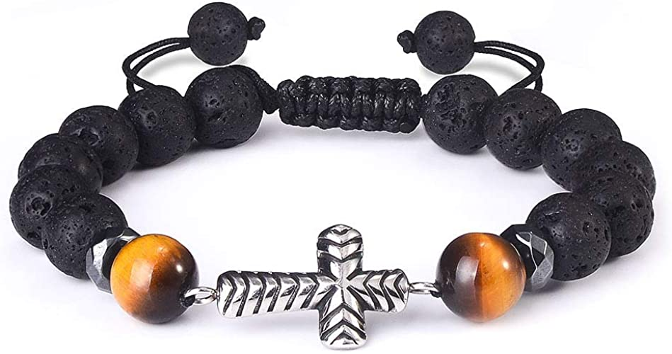 Jeka Natural Lava Rock Bracelet for Men Women 8MM Healing Stone Beaded Yoga Charm Bracelets Essential Oil Diffuser Adjustable Jewelry Gift