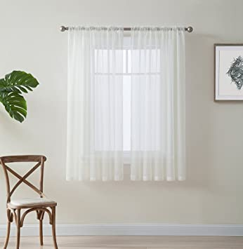 ME Ivory 54quot Inch X 45quot Window Curtain Sheer Voile Panels