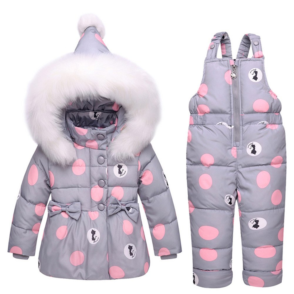 Baby Girls Snowsuit Toddler Puffer Hooded Jacket + Bib Pants 2 Pieces Set Grey 90 by LOSORN ZPY