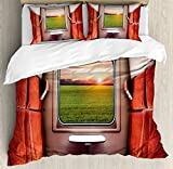 Ambesonne House Decor Duvet Cover Set, Fresh Nature Setting from Train Compartment Window Railroad Destination Travel Image, 3 Piece Bedding Set with Pillow Shams, Queen/Full, Red Green Cream