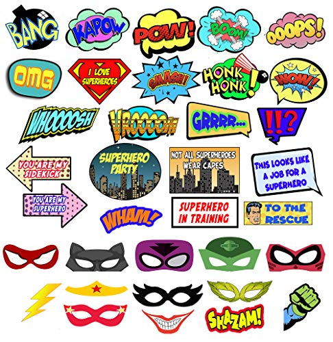 Superhero Photo Booth Props - Comic Superhero Party Decorations Set for Selfie & Photo Booth Pics - 35 Colorful Super Hero Props and Masks - Superhero Party Supplies Set by Scapa Pro -