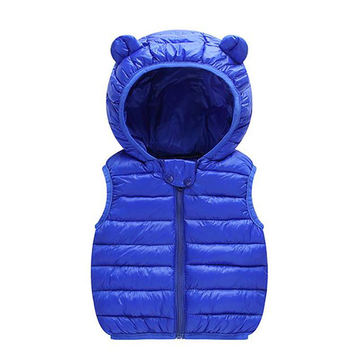 FASH Toddler Baby Kids Little Boy Girl Down Vest Winter Hooded Sleeveless Jacket Thick Keep Warm Outerwear for 1-5 Y,Darkblue,110 by FASH