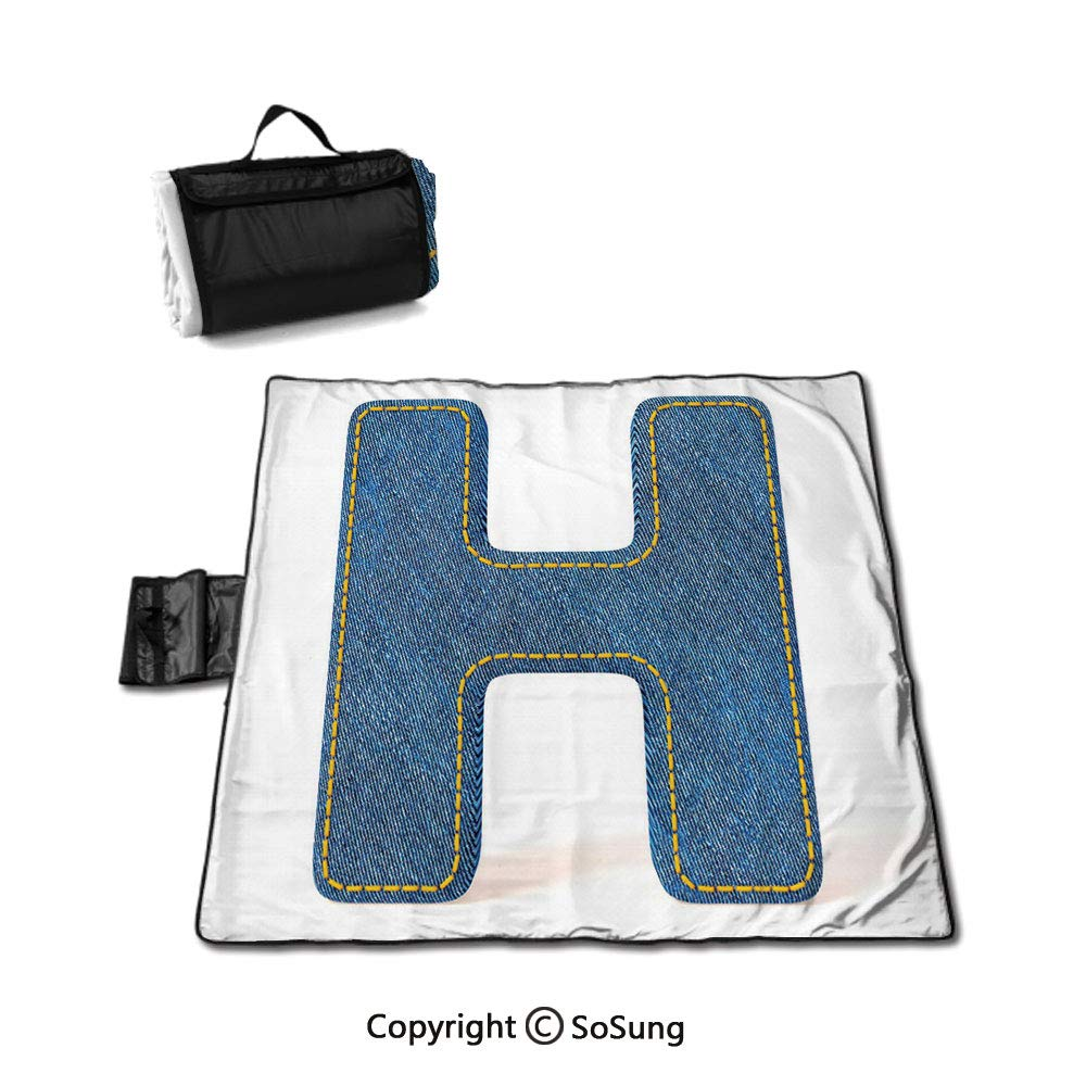Letter H Picnic Blanket with Tote,Denim Letter Design Uppercase H Fabric Pattern Jeans Texture Retro Typography Sandproof & Waterproof Picnic Mat Tote for Camping Hiking Grass Travelling,Blue Marigold by SoSung