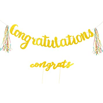 amazon com congratulations banner and cake topper set gold letter