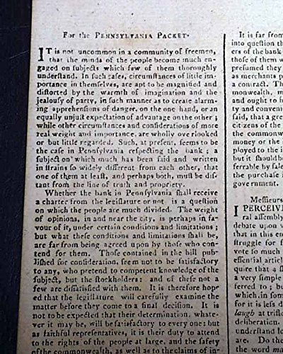 18th Century PHILADELPHIA LAND Ground Lots For Sale 1787 Pennsylvania Newspaper PENNSYLVANIA PACKET & DAILY ADVERTISER, Philadelphia, Feb. 28, 1787