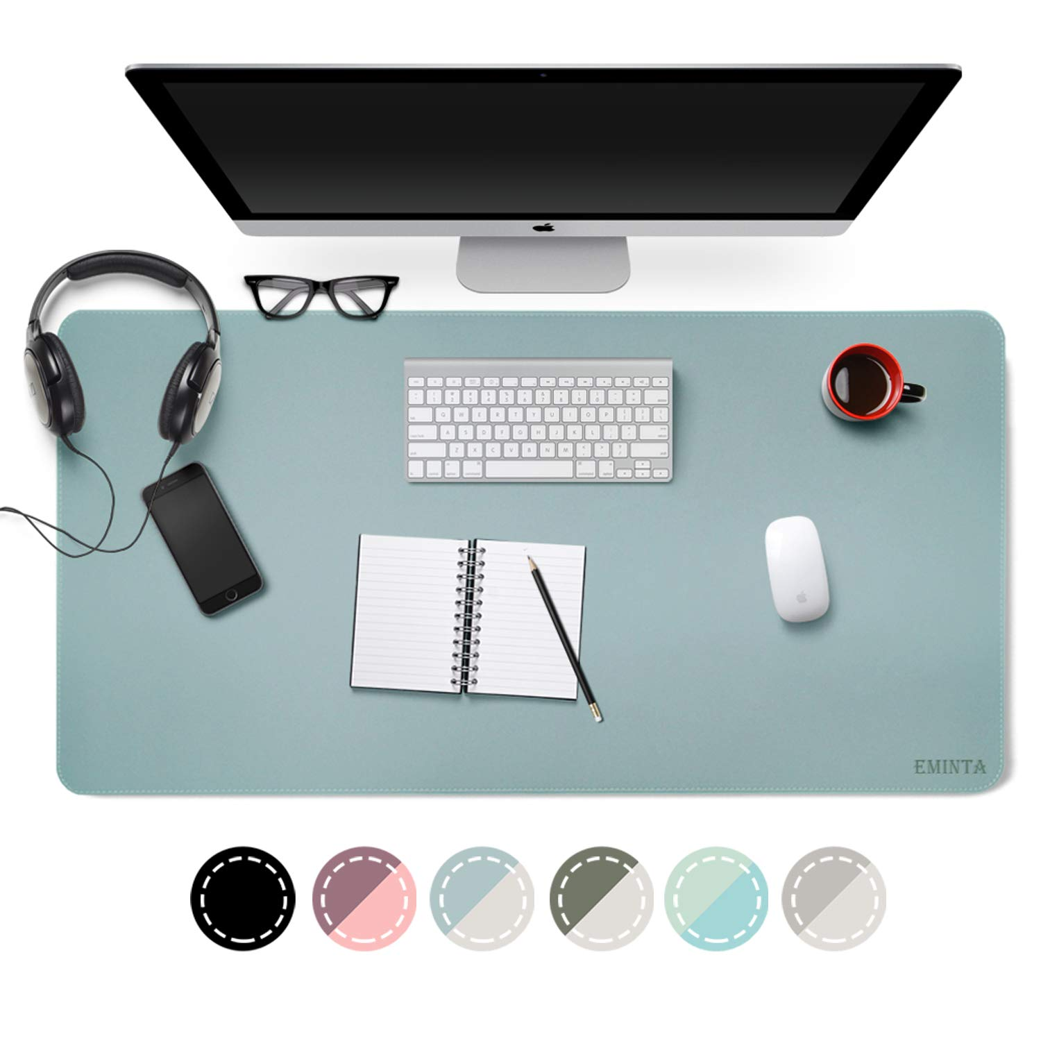 Dual-Sided Desk Pad Office Desk Mat, EMINTA Ultra Thin Waterproof PU Leather Mouse Pad Desk Blotter Protector, Desk Writing Mat for Office/Home (Light Blue/Silver, 31.5'' x 15.7'') by EMINTA