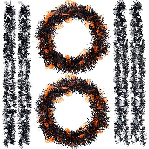 Jetec 6 Pieces Halloween Tinsel Garland Plastic Sparkling Hanging Decoration 39.4 Feet for Indoor and Outdoor Halloween Party Supplies, Orange, Black and White