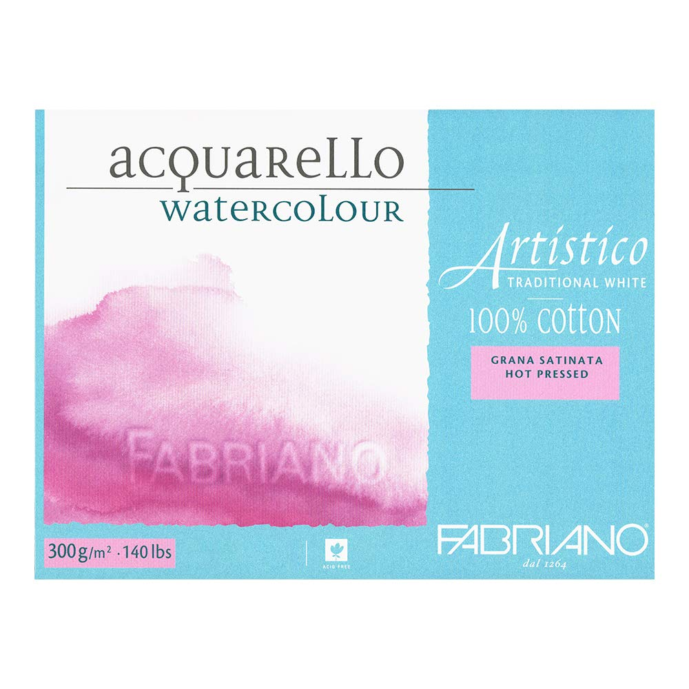 Traditional White Hot Press 25 Sheet Block 5x7 Fabriano Artistico 140 lb