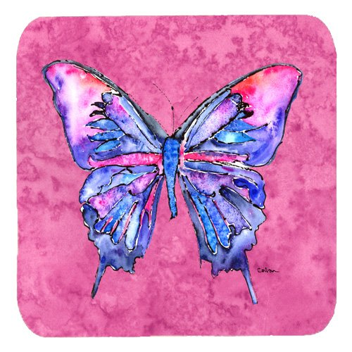 Caroline's Treasures 8859FC Butterfly on Pink Foam Coasters (Set of 4), 3.5