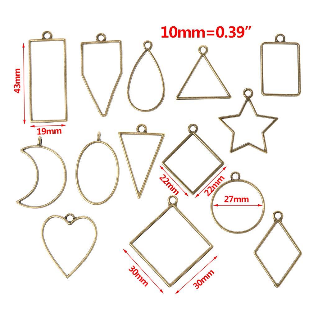 wuhi 14 Unids Conjunto de Marco de Metal de Forma Geom/étrica DIY Resina Epoxi Cristal UV Moldes de Silicona Joyer/ía Colgante Fabricaci/ón
