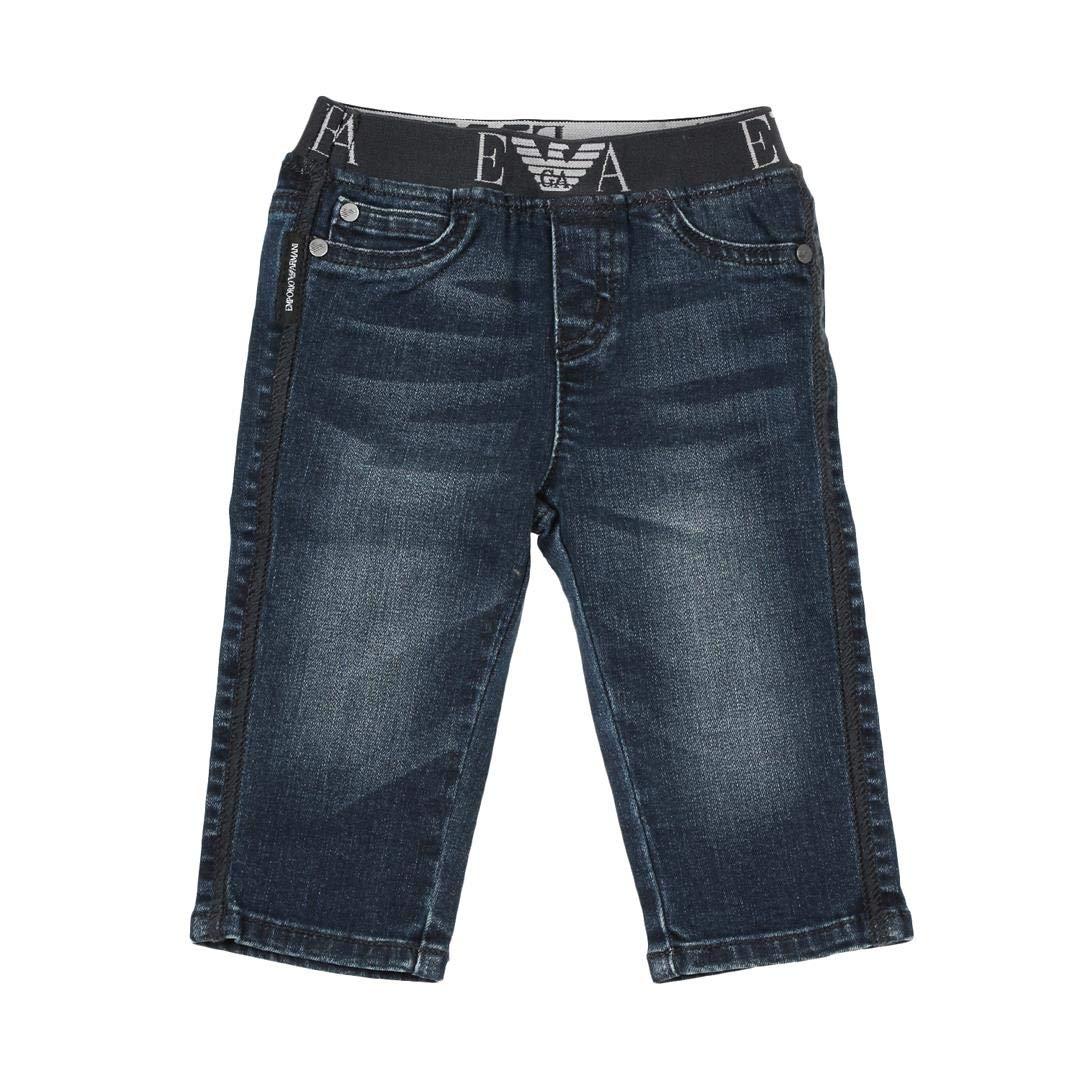 Armani Junior Jeans in Cotone Stretch con Banda elastica logata Bambino Baby Boy Mod. 6ZHJ07
