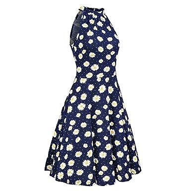 Women Dresses Godathe Womens Summer Beach Floral Print Sleeveless Casual Dress S-XL