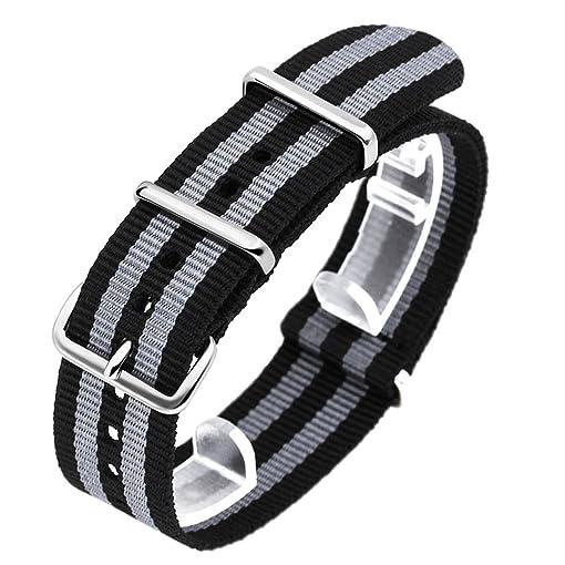 SINOBI Casual Men Nato Nylon Stripe Watchband, Unisex Sport Buckles Canvas Strap Elastic Male Wristbands