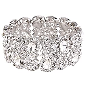 EVER FAITH Women's Austrian Crystal Teardrop 8-Shaped Knot Elastic Stretch Bracelet Clear