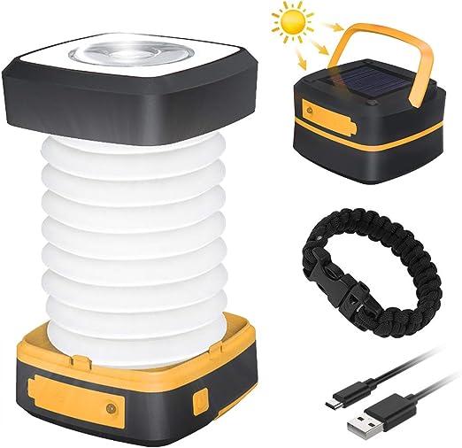 Luz Camping Recargable GlobaLink Farol Camping Lampara Led Solar Linterna Camping 140LM Carga Solar/USB Modos Luz Baja/Alta/Parpadeo SOS Ligero ...