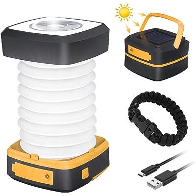 Luz Camping Recargable GlobaLink Farol Camping Lampara Led Solar Linterna Camping 140LM Carga Solar/USB Modos Luz Baja/Alta/Parpadeo SOS Ligero Plegable para Acampada, con USB Cable y Pulsera-Amarillo