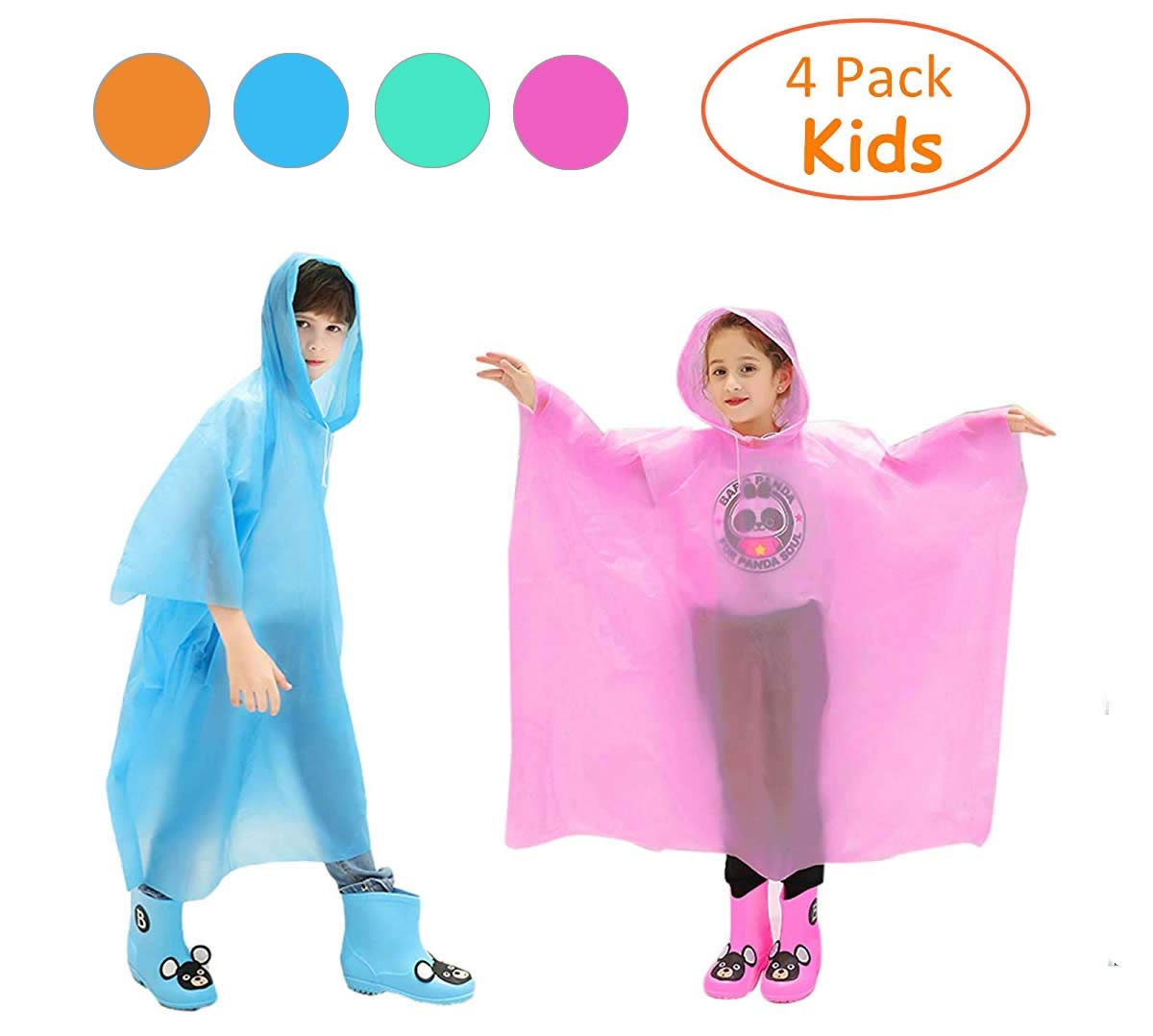 Emergency Rain Poncho for Kids, Disposable Drawstring Hood Poncho for Boys and Girls, Pack of 4 - Pink, Blue, Green, Orange