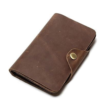 Asdflina Bien Artesanal Hombres Long Travel Multi Card Position Cartera de Cuero Vintage Adecuado para Uso