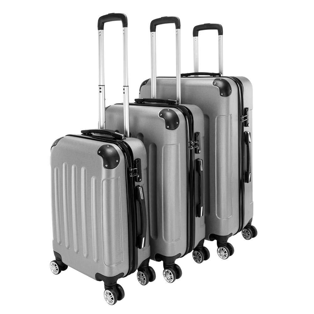 Lorumek Luggage Set 3 Piece Hard Shell Travel Trolley Suitcase Set Lightweight 4 360⁰ Rotation Wheels