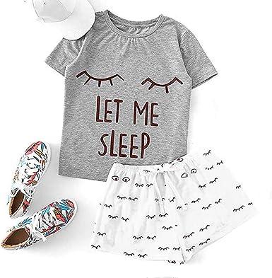 Conjunto de Pijamas con Letras Camiseta de Manga Corta con ...