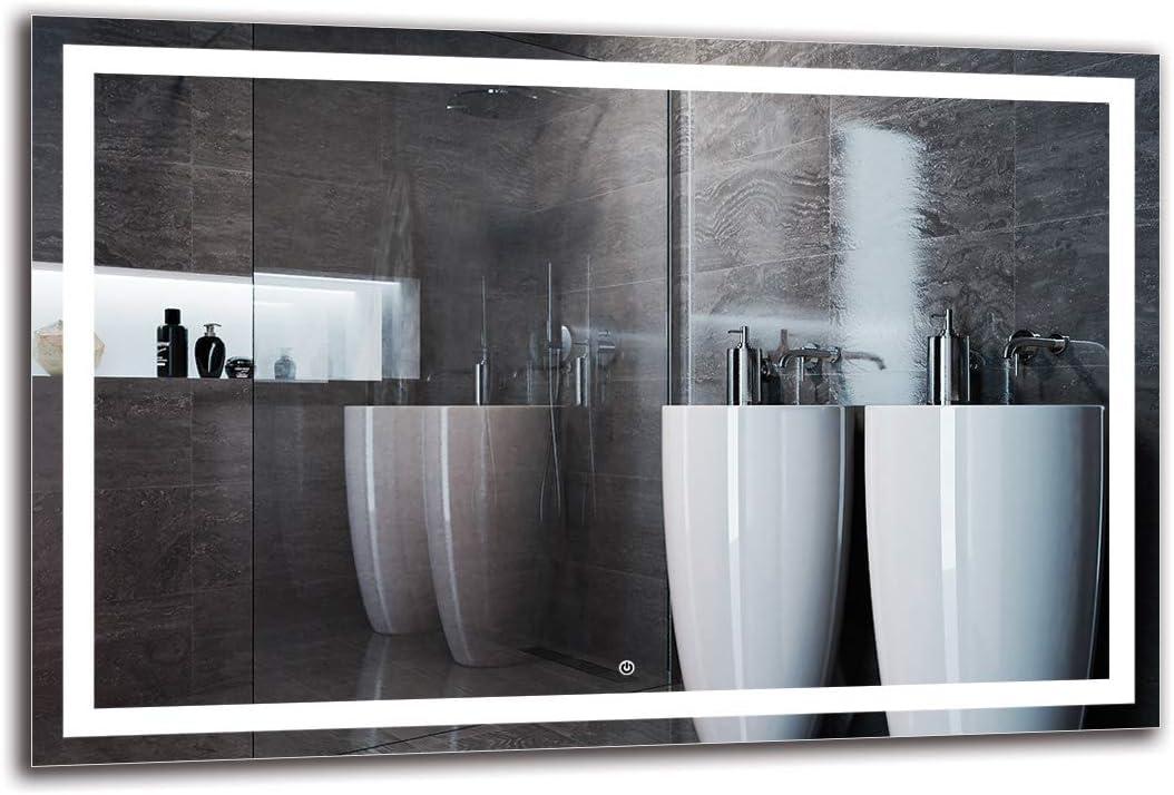 Espejo LED Deluxe - Dimensiones del Espejo 120x80 cm - Interruptor tactil - Espejo de baño con iluminación LED - Espejo de Pared - Espejo con iluminación - ARTTOR M1ZD-47-120x80 - Blanco frío 6500K: Amazon.es: Hogar