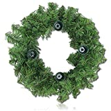 "Custom & Unique (12"" Inches) 1 Single Mid-Size Decorative Holiday Wreath for Door, Made of Metal Wire & Resin w/ Classic Festive Winter Christmas Flocked Pine Branches Style (Green, Grey, & Brown)"