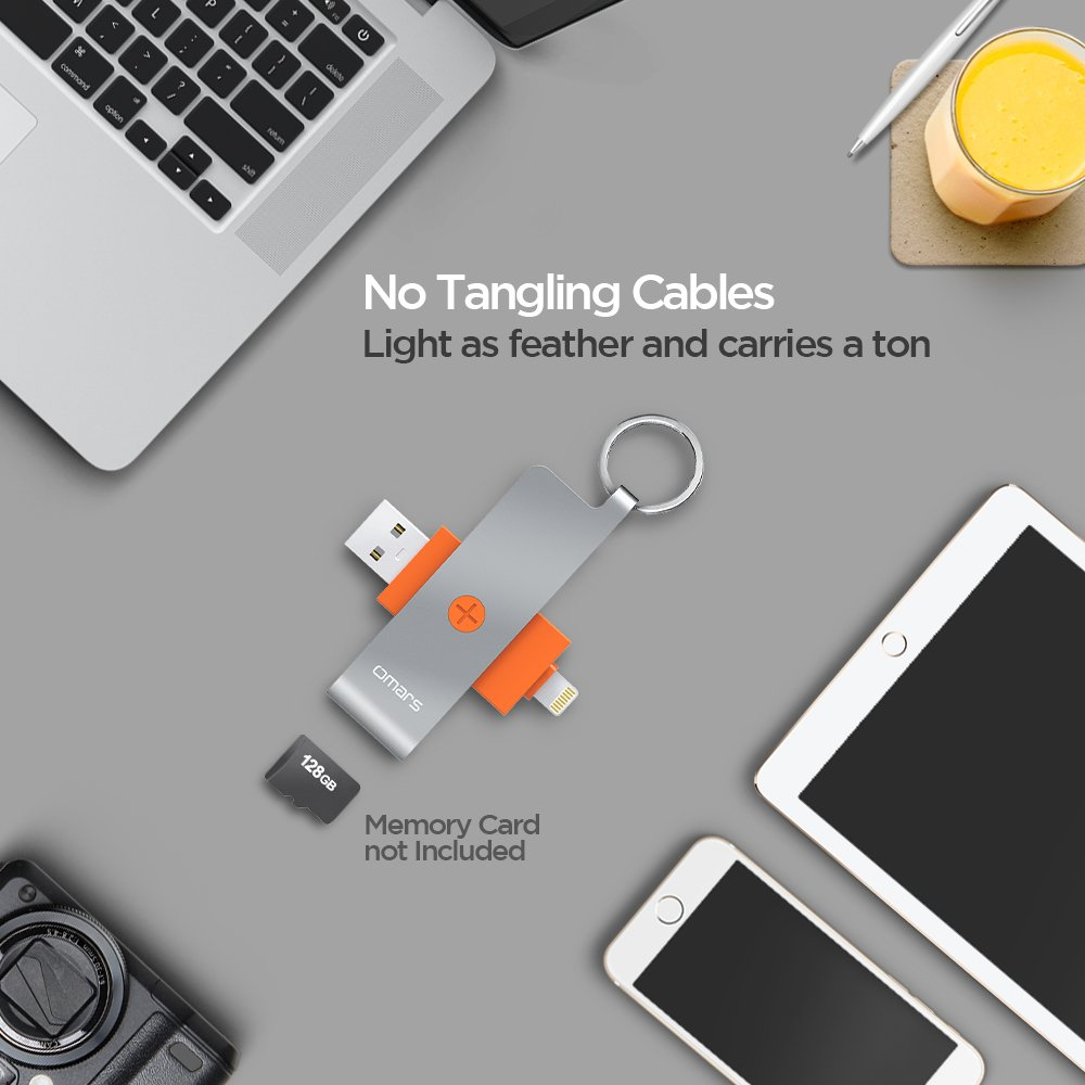 Omars Micro SD Card Reader Adapter with Lightning Connector up to 128G for iPhone / iPad / PC / Mac  [Apple MFI Certified]