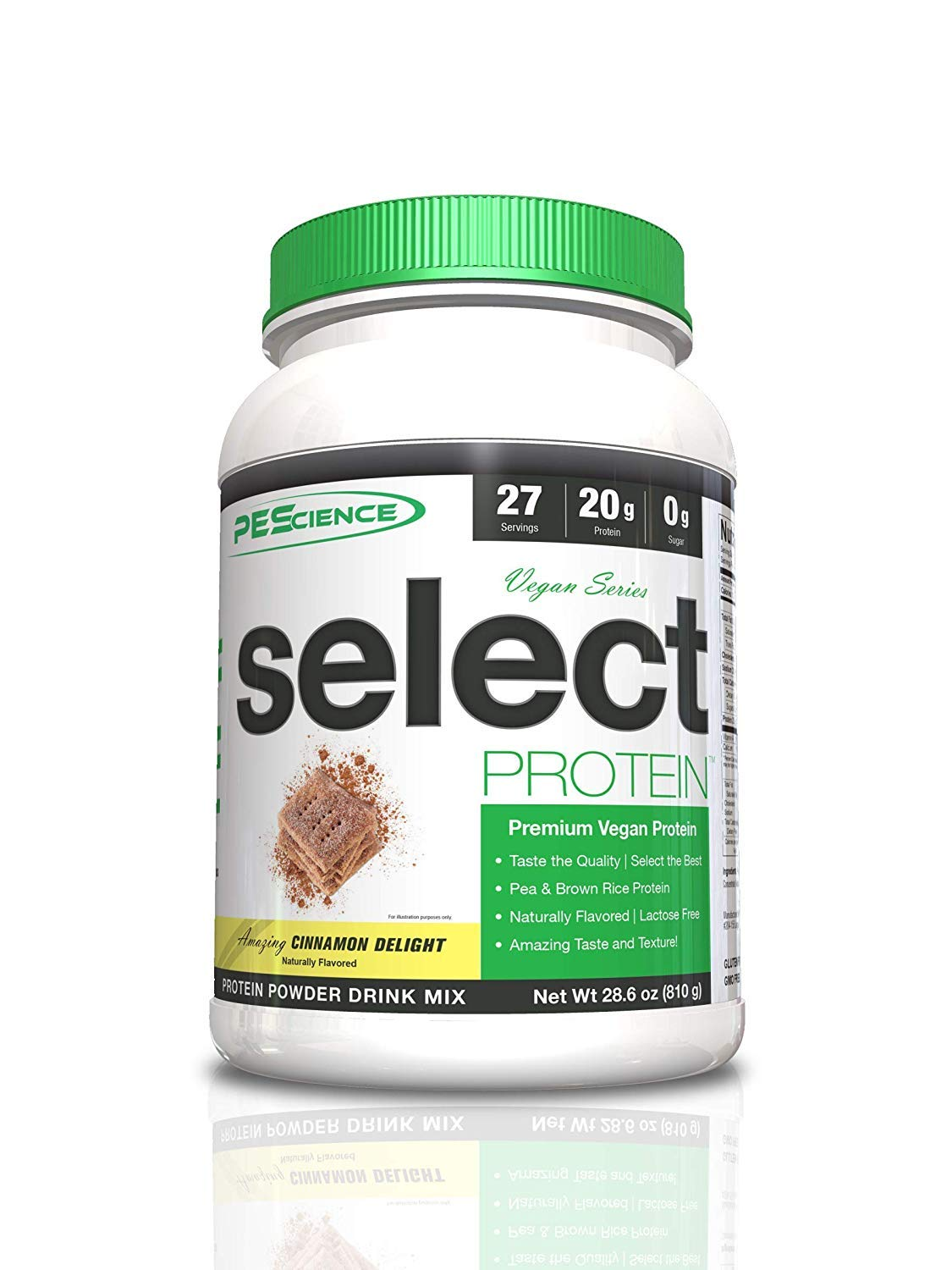 PEScience Select Vegan Protein Powder, Cinnamon Delight, 27 Serving (2 Pack), Premium Pea and Brown Rice Protein Blend