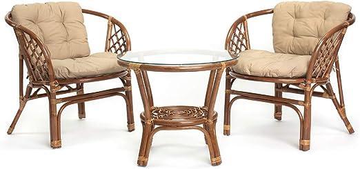 Ragnarök Juego de muebles de jardín de ratán – Muebles de balcón – Muebles de jardín – Juego de mesa – Juego de muebles de balcón (Hellbraun - Beige): Amazon.es: Jardín