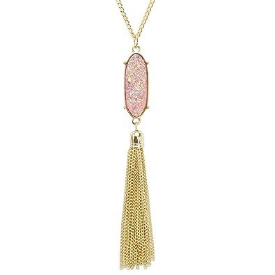 Amazon kisspat tassel druzy pendant necklace gold tone long kisspat tassel druzy pendant necklace gold tone long chain statement jewelry for wo aloadofball Images