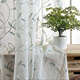 WINYY Romantic Home Decor Blue Leaves Embroidery with Silver Thread Semi-Sheer Drapes Rod Pocket Top for Balcony Living Room Bedroom Kitchen Window Treatments ,1 Panel W75 x H96 inch For Sale