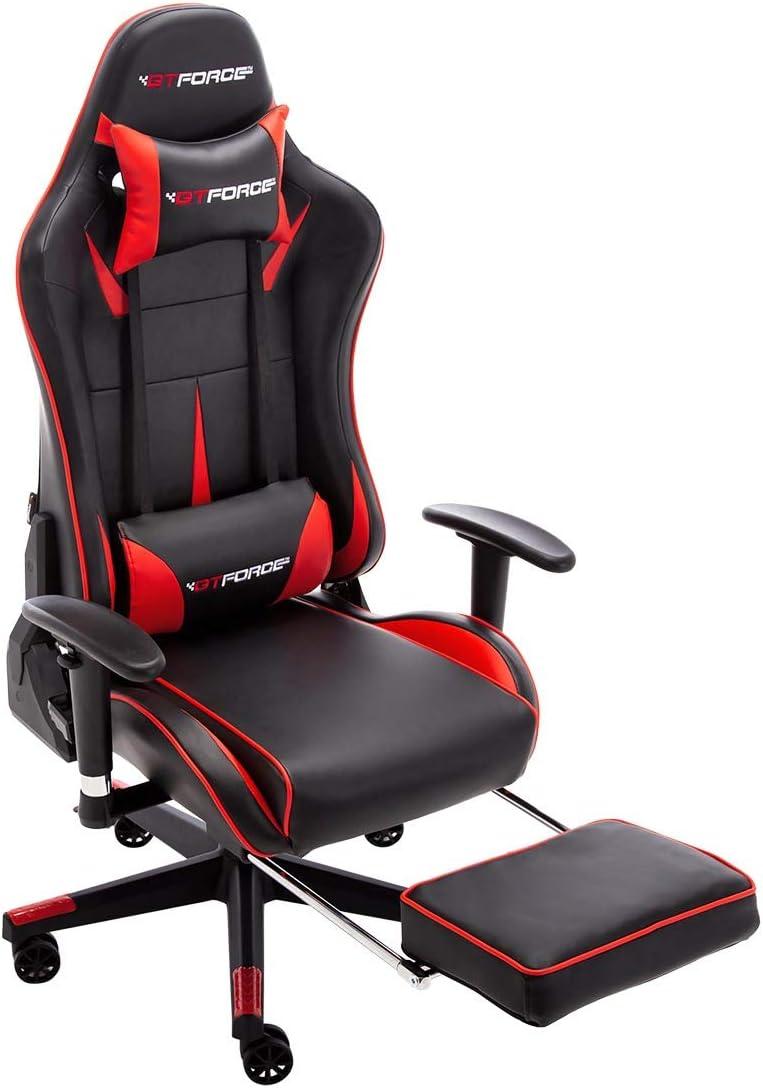 Bianco Sedia Gaming reclinabile con poggiapiedi GTFORCE Formula MX in Simil Pelle per Il PC o per Videogiochi Sportivi e Racing da scrivania
