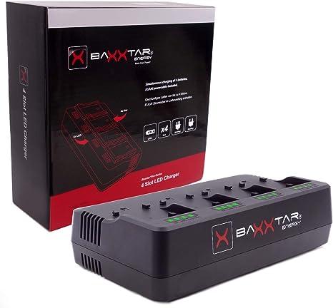 Baxxtar PRO 4 Kanal Ladeger/ät 2A pro Schacht - kompatibel mit Allen Akkus der Sony NP-F Serie NP-F550 NP-F750 NP-F970 NP-F990 NP-FM500H usw