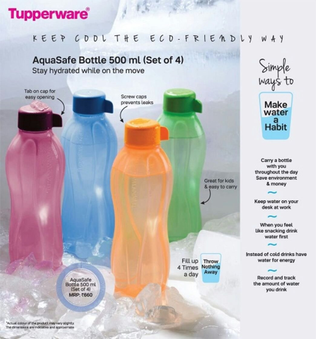 Tupperware aquasafe bottles 500ml set of 4 amazon in home kitchen