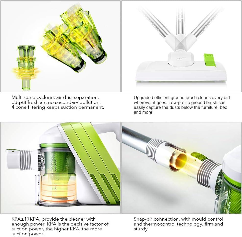 PUPPYOO WP521 - Aspirador sin bolsa 2 en 1, aspiradora de mano y de escoba, (400 W, incluye 3 boquillas perfectas, cable XXL de 5 m, filtro lavable) color blanco y verde: Amazon.es: Hogar