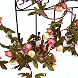 Mr. Garden Fake Rose Flower Artificial Hanging Vine Trees Plants for Decoration Home Wedding Hotel Party Art Pink