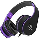 Headphones, Sound Intone Foldable Headphones with Microphone and Volume Control, On-ear Wired Headset for iphone and Android Devices (Black/purple)