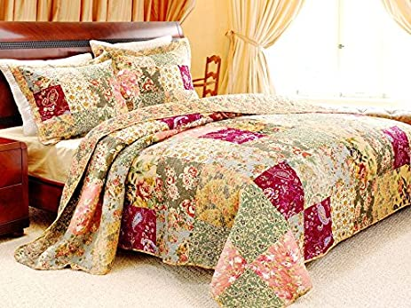 Amazon.com: French Country Patchwork Quilted Bedspread Set ... : quilted bedspread sets - Adamdwight.com