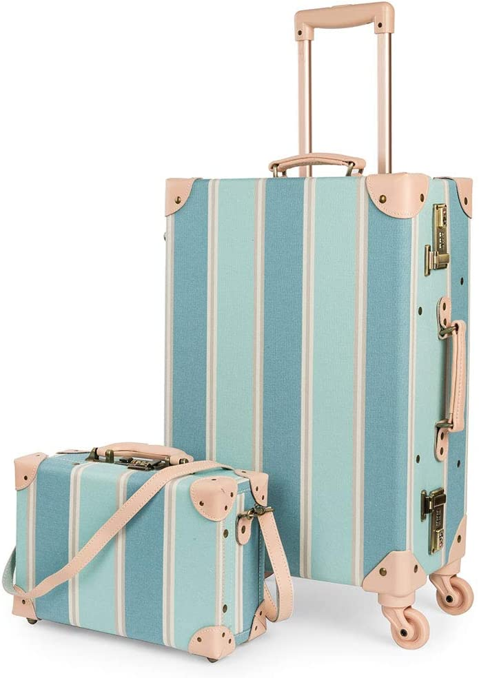 COTRUNKAGE Travel Carry On Luggage Trunk Set Vintage Suitcase