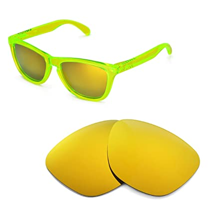 4bcb791550f Walleva Replacement Lenses for Oakley Frogskins Sunglasses - Multiple  Options Available (24K Gold Mirror Coated
