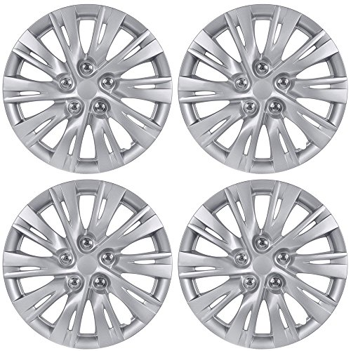 BDK K1037 16 Toyota Camry Style Hubcaps 16 Wheel Covers-2012, 2013 Model Replica Cover, Silver 4 Pieces
