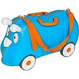 TecTake Maleta de viaje con ruedas para niños coche infantil caja de juguettes azul