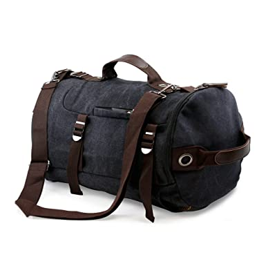 b55a4816d2 3 Way Canvas Travel Shoulder Backpack Hiking Messenger Luggage Men Women -  black