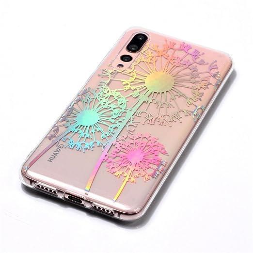 CHcase Slim Luxury Glitter Case con Rave Holographic Laser Brillante Flexible Transparente Crystal Clear Soft TPU Silicone Case Cover para Huawei P20 Lite 9 Funda Huawei P20 Lite