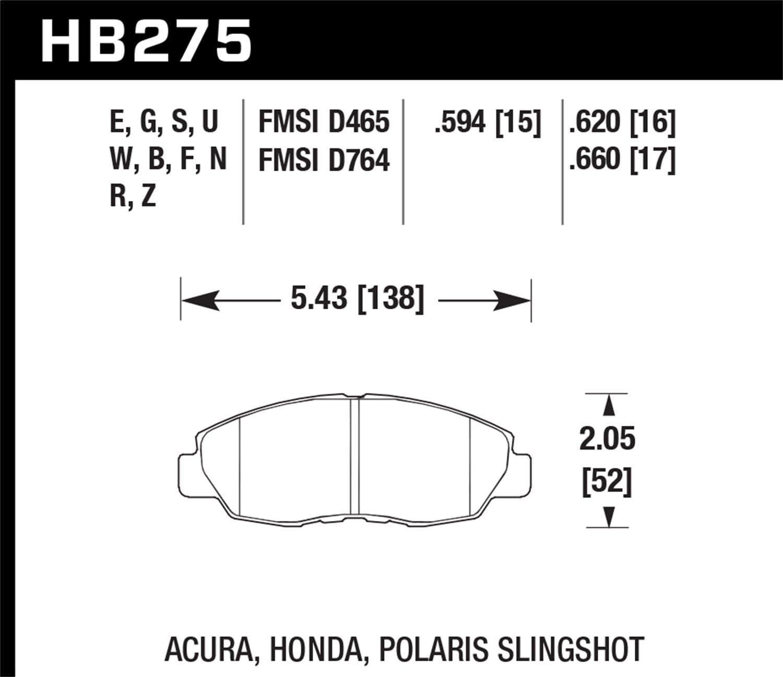 HPS 5.0 Disc Brake Pads HB145B.570 Hawk High Performance Street