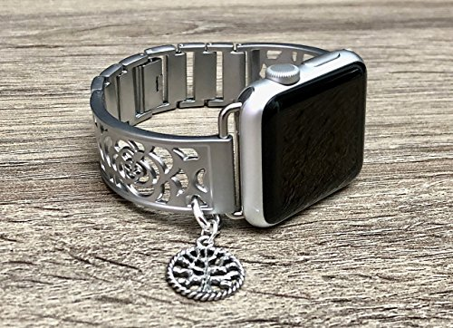 Silver Brushed Aluminum Metal Bracelet For Apple Watch 38mm All Series Handmade Flowers Design Jewelry Band for Apple Watch Vintage Tree Of Life Charm Adjustable Size Fashion Accessory Wristband