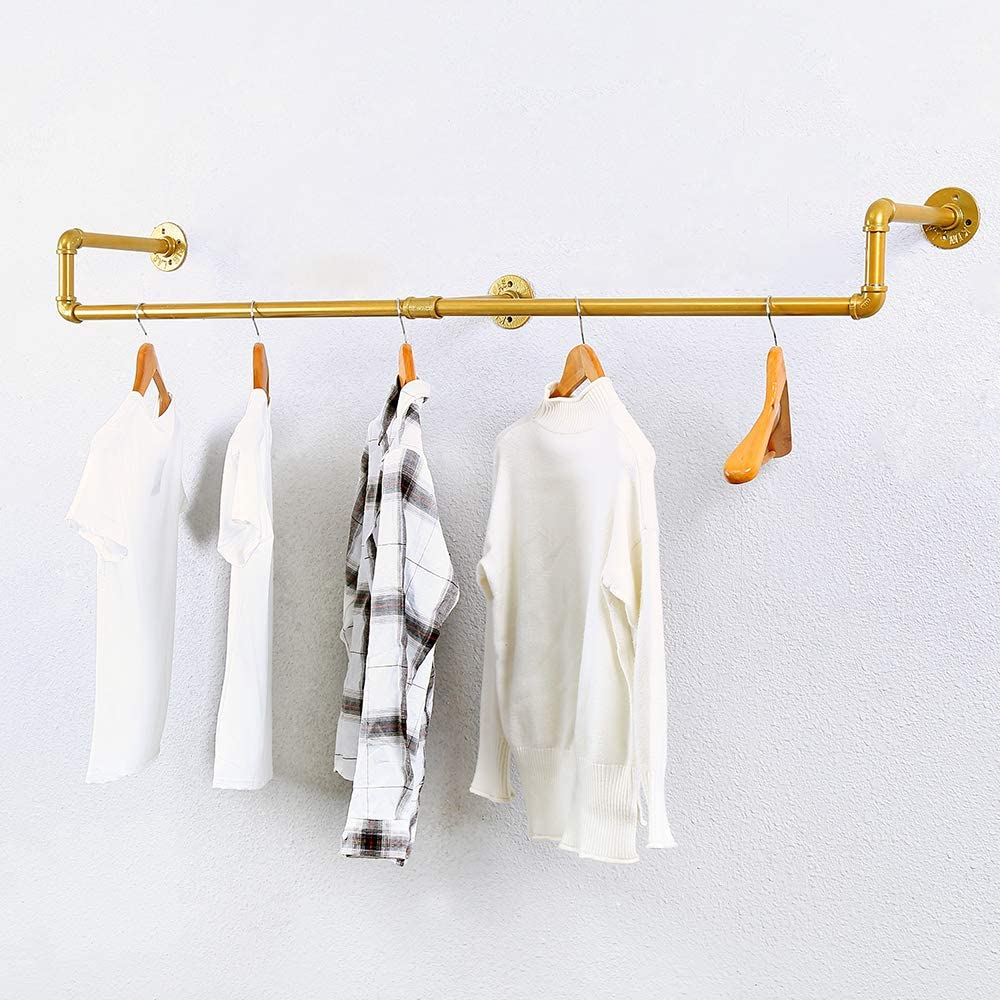 GWH Industrial Pipe Clothing Rack Wall Mounted,Vintage Retail Garment Rack Display Rack Cloths Rack,Metal Commercial Clothes Racks for Hanging Clothes,Iron Clothing Rod Laundry Room(59in,Gold)