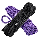 2 Packs All Purpose Rope 10M - 32 Feet Length Strong Multifunctional Soft 100% Nylon Rope Natural Twisted Durable Long Ropes Purple and Red