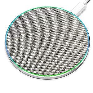 IMDEN ワイヤレス充電器 15W/10W/7.5W 表面は布生地【Qi認証】 【PSE認証済み】