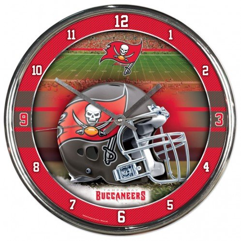 (Nfl Football Team Chrome Wall Clock , Tampa Bay Buccaneers , 12-Inch)